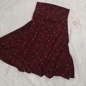 NWT LULAROE Burgundy Floral Azure Flare Skirt XS